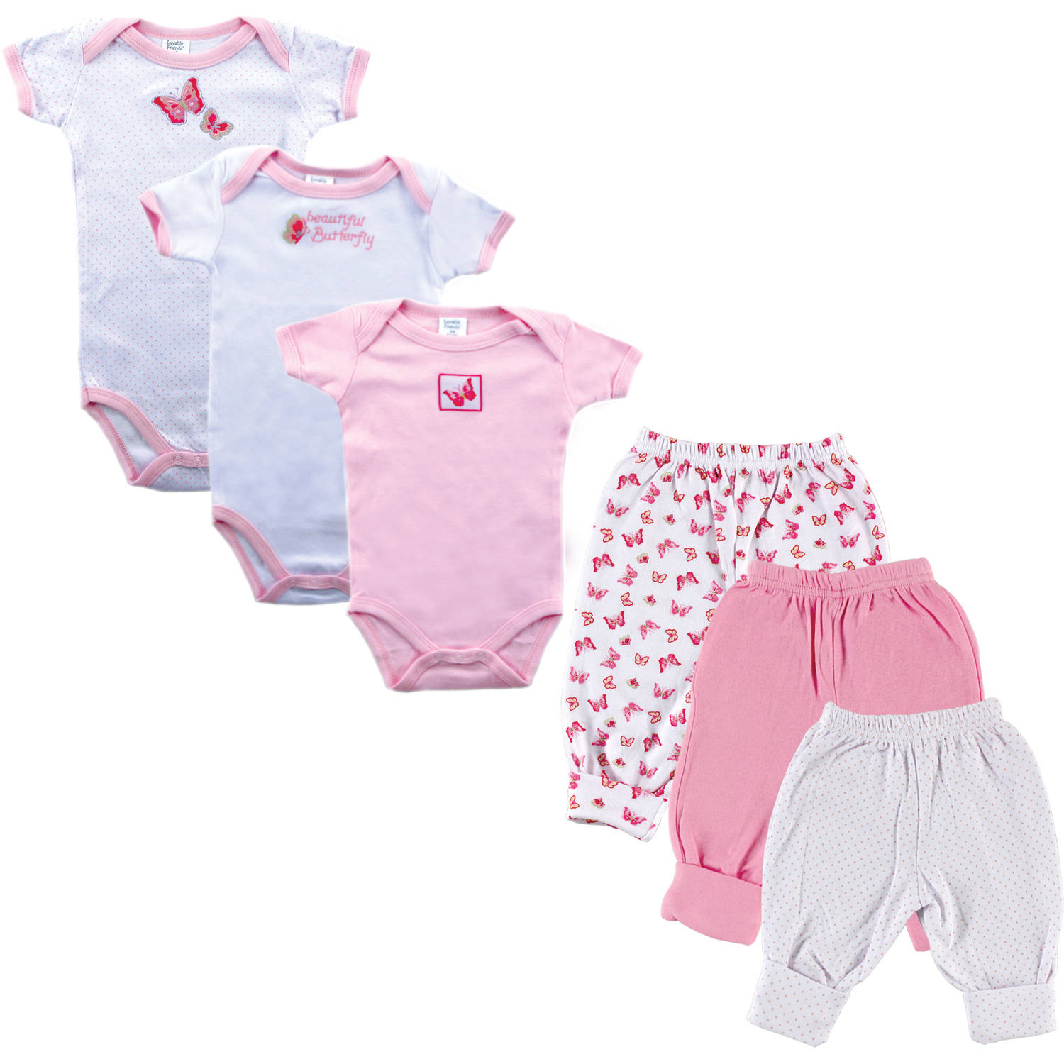 Newborn Baby Girl Grow with Me Layette 6-Piece Set, Pink