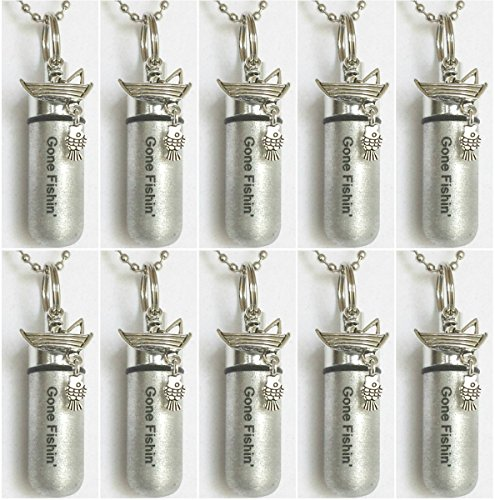 Wholesale Set of TEN ENGRAVED Gone Fishin' Brushed Silver Fisherman in Boat CREMATION URN Keepsakes with 10 Velvet Pouches, 10 Ball-Chains & Fill Kit
