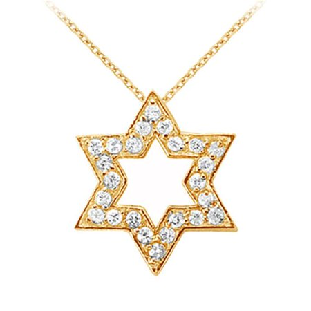 Fine Jewelry Vault UBNPD31518Y14D 14K Yellow Gold Diamond Star Pendant Necklace 0.25 CT TDW
