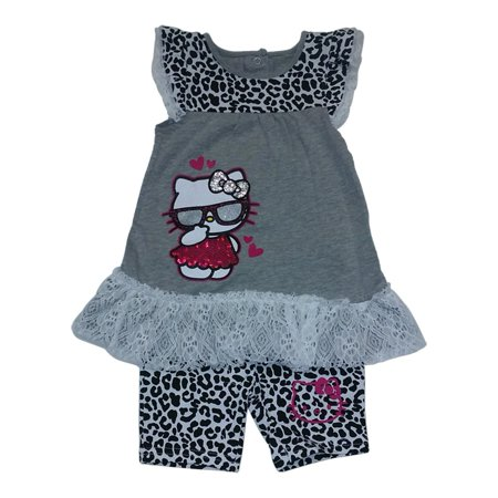 Weplay Little Girls Grey Glitter Hello Kitty Lace Cheetah Shorts Outfit 2-4T