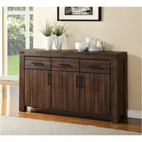 Bowery Hill Solid Wood Sideboard in Brick Brown