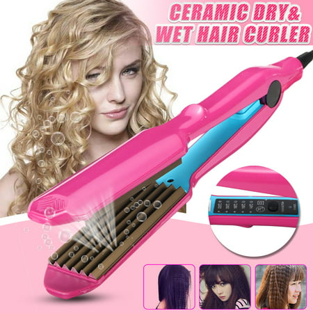 110V Hair Curling Crimper Iron Anion Ceramic Titanium Hair Curlers Flat Wand Salon Dry&Wet Use with 5-Speed Temperature