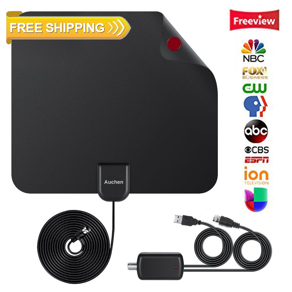Digital TV Antennas - Upgrade 110 Miles HDTV Antenna Digital Indoor Antenna with Detachable Signal Booster VHF UHF High Gain Channels Reception For 4K 1080P Free TV