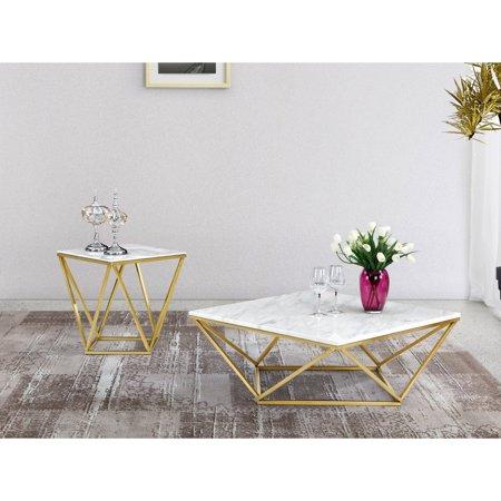 3d36ec338bd2c Meridian Furniture Inc Mason Gold Coffee table - Walmart.com