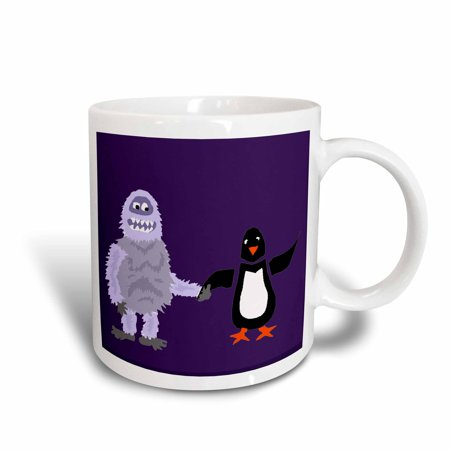 Ceramic Snowman - 3dRose Funny Abominable Snowman Holding Penguin Hand Love - Ceramic Mug, 15-ounce