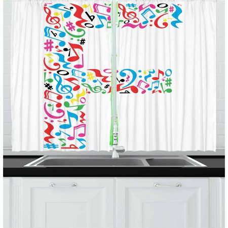 Letter F Curtains 2 Panels Set  Letter F Alphabet With Vibrant Music Notes Harmony Song Design Abc Graphic Print  Window Drapes For Living Room Bedroom  55W X 39L Inches  Multicolor  By Ambesonne