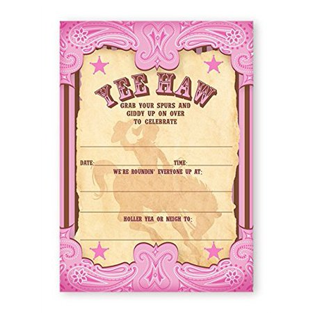 Cowgirl Party LARGE Invitations - 10 Invitations + 10 Envelopes - Cowgirl Invitations
