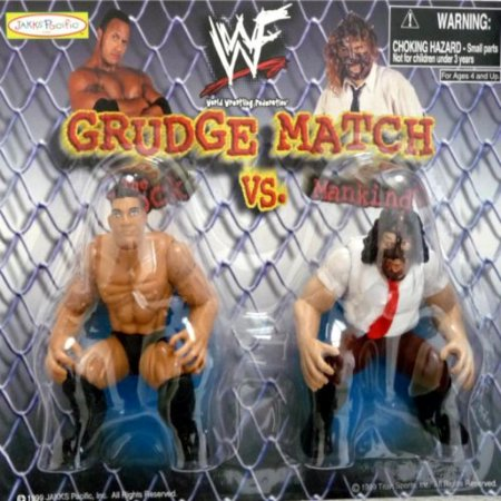 The Rock   Mankind   Wwe Wwf Wrestling Grudge Match 3 Inch Figures By Jakks Pacific