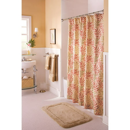 Better homes gardens multileaf fabric shower curtain for Better homes and gardens shower curtains