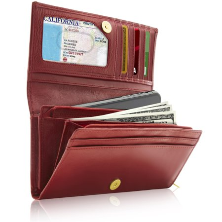 Genuine Leather Accordion Clutch Wallets For Women - Organizer With Coin Purse And ID Window RFID Blocking