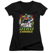 Power Rangers - Dino Lightning - Juniors Cap Sleeve V-Neck Shirt - Small