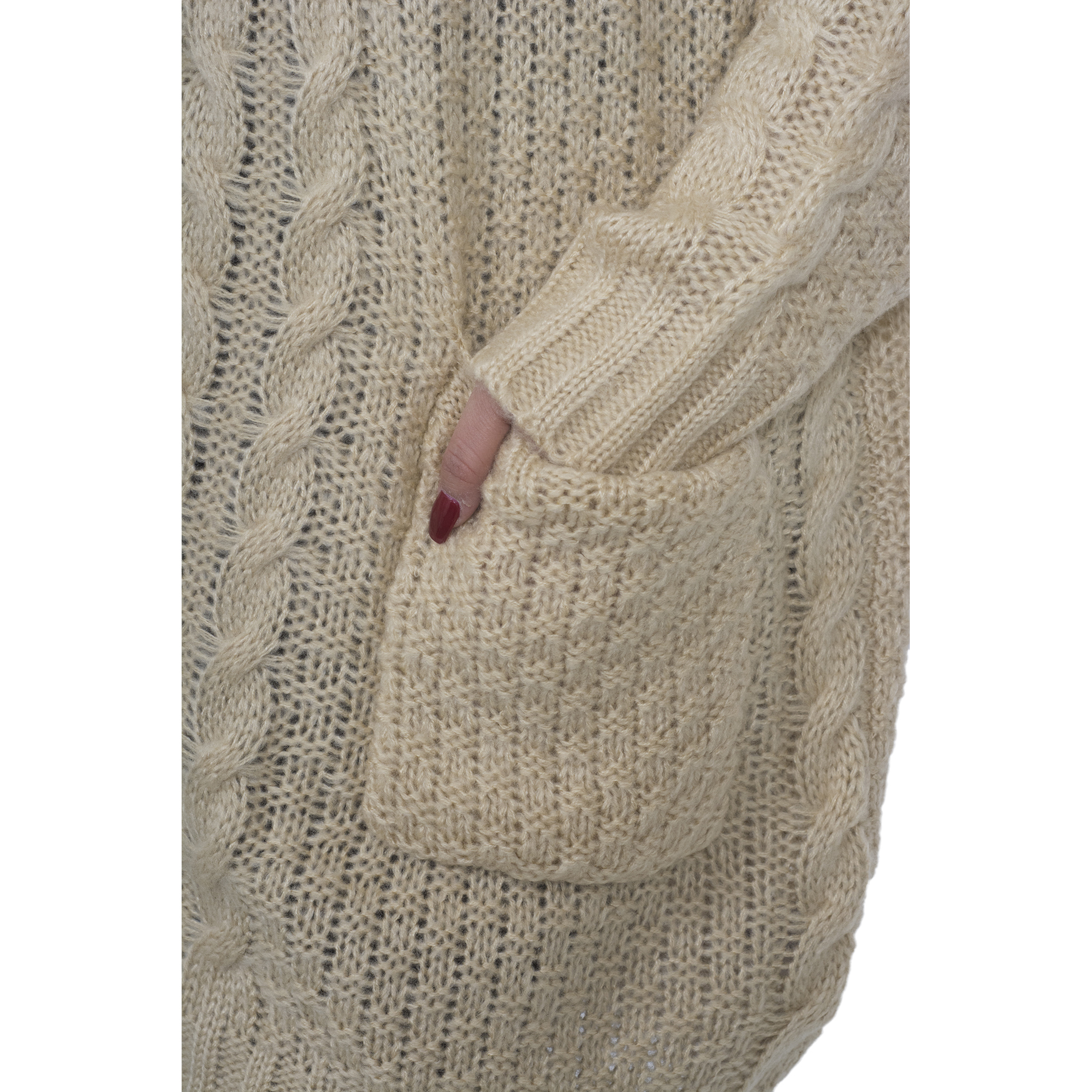 ac86854a2d Hot From Hollywood - Women s Chunky Cable Knitted Oversized Sweater Dress  with Front Pockets - Walmart.com