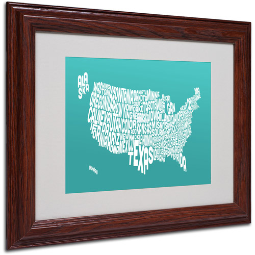 "Trademark Fine Art ""TURQOISE-USA States Text Map"" Framed by Michael Tompsett"