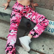 Hirigin Women Fashion Camouflage Jogger Pants High Waist Hip Hop Camo Military Harem Pants Trousers Full Length Pink S