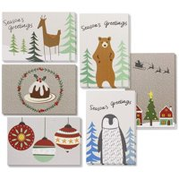 36-Pack Merry Christmas Greeting Cards Bulk Box Set - Winter Holiday Xmas Greeting Cards with Cute Wintertime Designs, Envelopes Included, 4 x 6 Inches