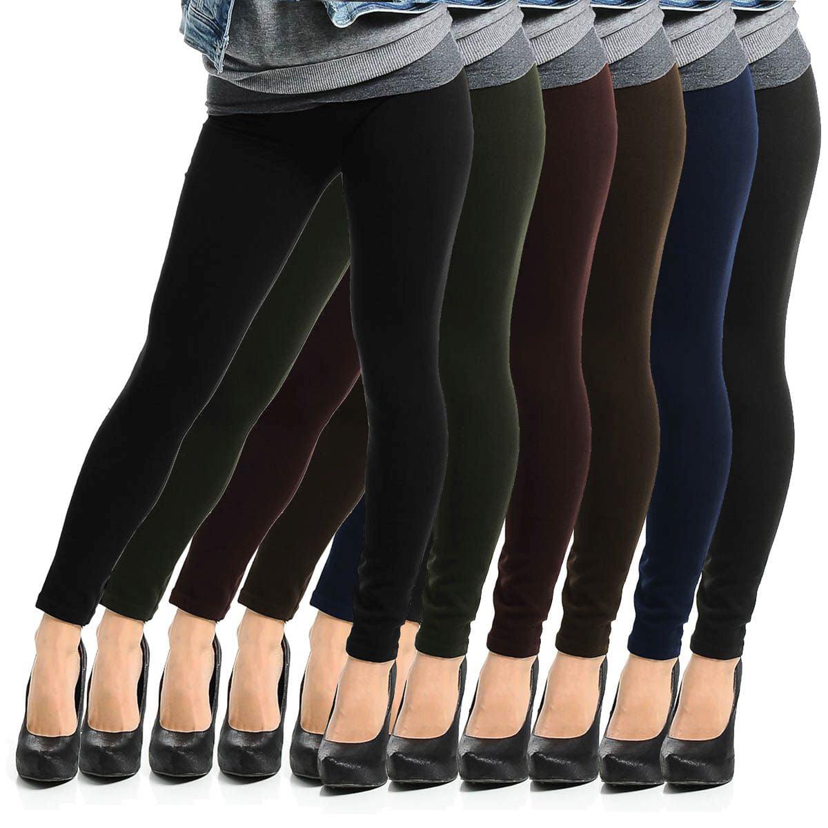 6pk Fleece-Lined Leggings Opaque Footless Winter Warm Adult One ...