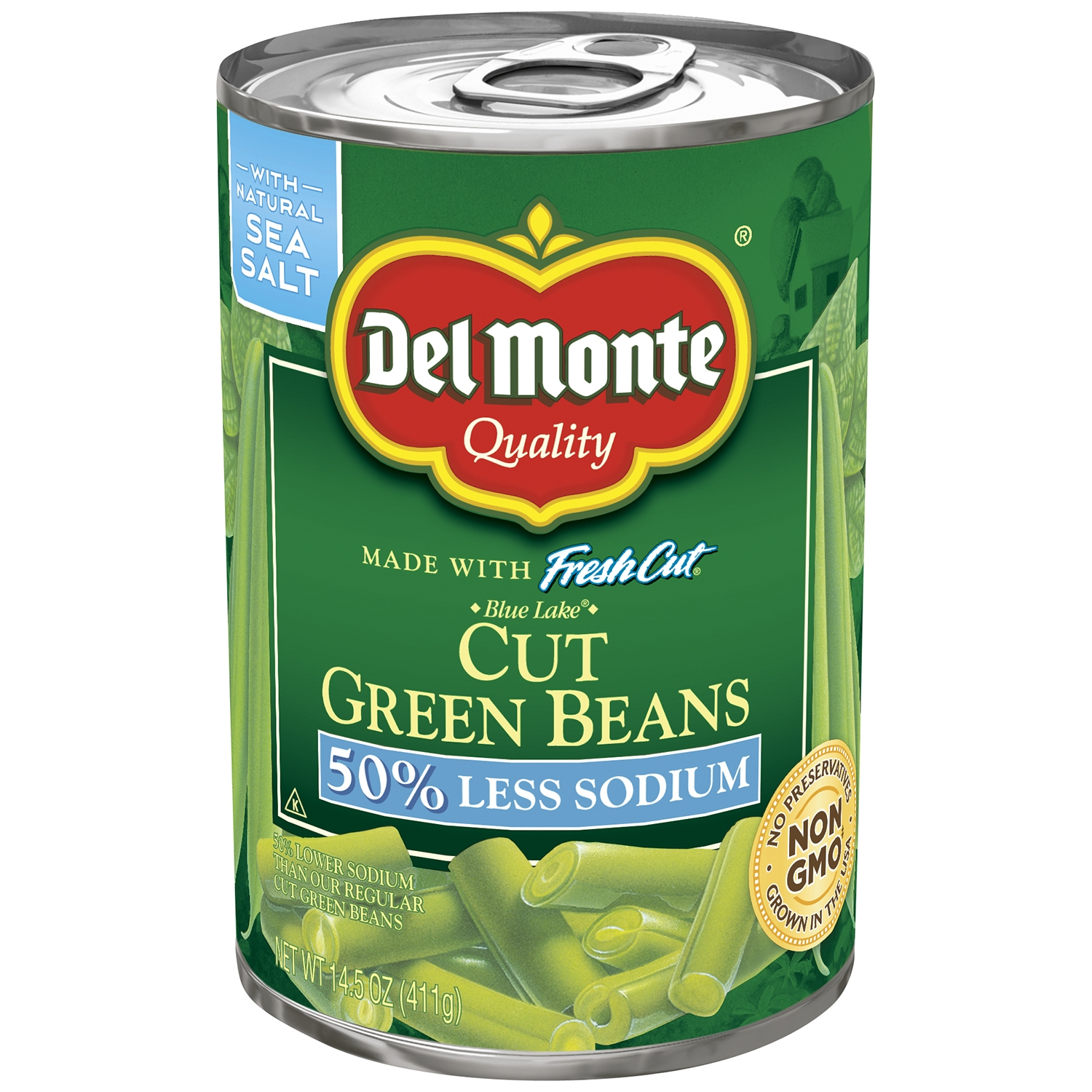 Del Monte Fresh Cut Blue Lake Cut Green Beans, 50% Less Sodium, 14.5 Oz