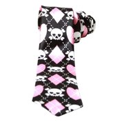 Black White Pink Argyle With Cute Skull Crossbones Neck Tie