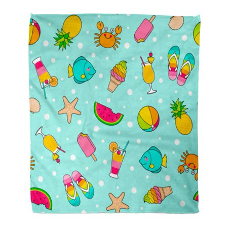 LADDKE Throw Blanket 58x80 Inches Blue Crab Colorful Cute Cartoon in Summer Holiday Fish Kids Pineapple Ball Warm Flannel Soft Blanket for Couch Sofa - Crab Balls