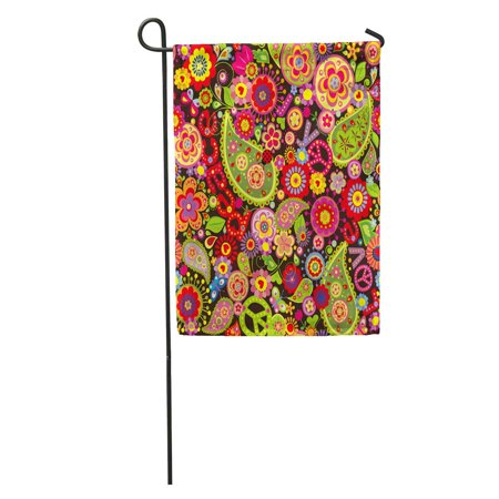 KDAGR Hippy Hippie Colorful Flower Power Pattern Paisley Sixties 1970S Garden Flag Decorative Flag House Banner 12x18 inch](Sixties Flower Power)