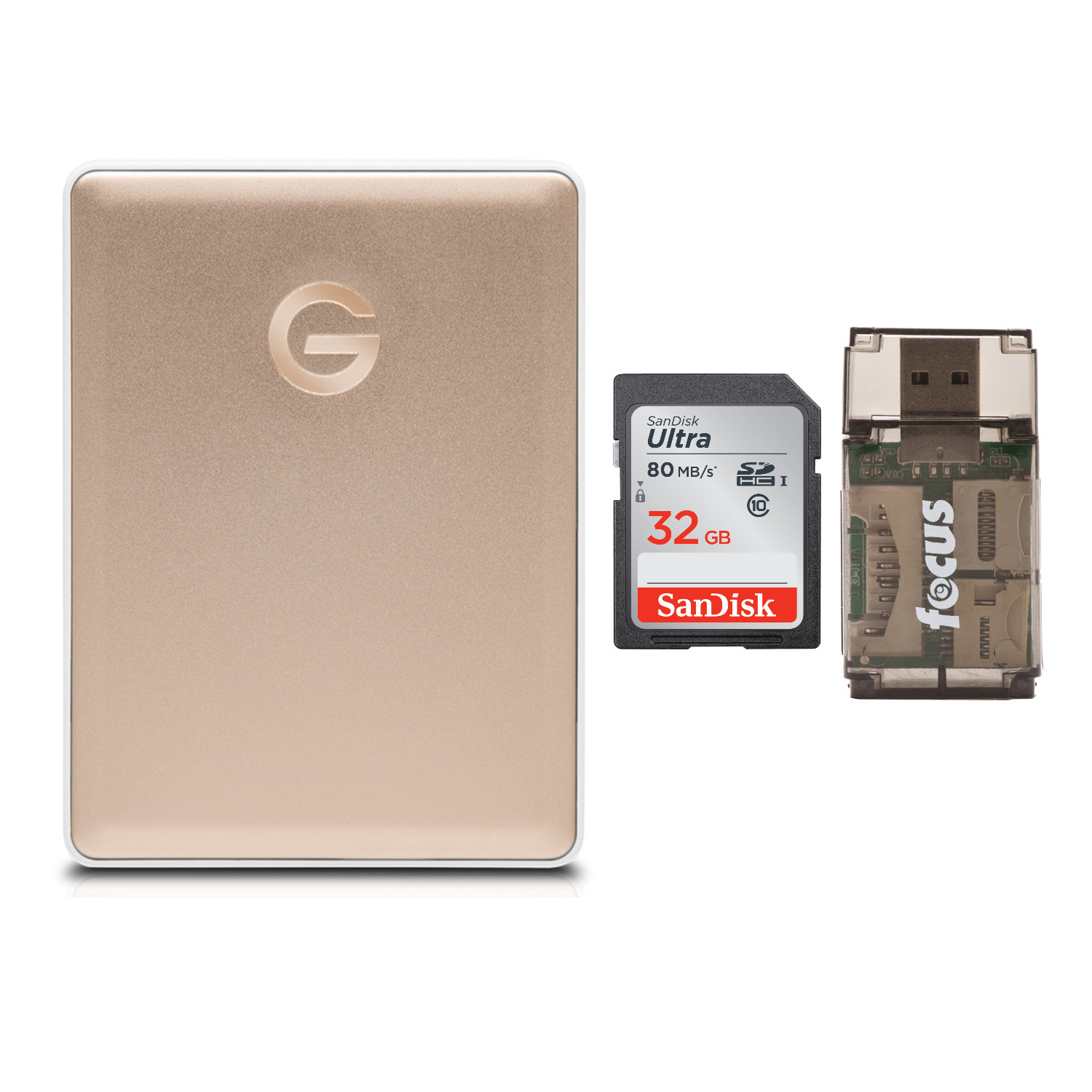 G-Technology G-DRIVE mobile USB-C 2TB Portable Hard Drive (Gold) Bundle