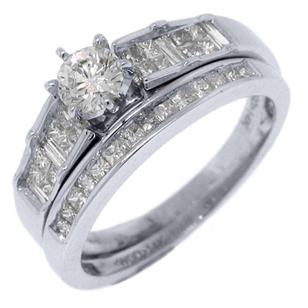 14k White Gold 1 Carat Round & Princess Diamond Engagement Ring Bridal Set