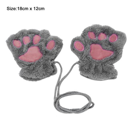 Sofe Women Winter Claw Gloves Fluffy Bear Paw Mittens Lady Half Finger Gloves - image 8 of 16