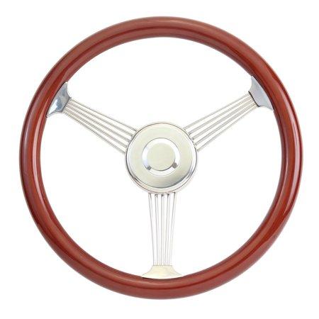Banjo Wheel - Mahogany Banjo Steering Wheel with Stainless Steel Spokes,15