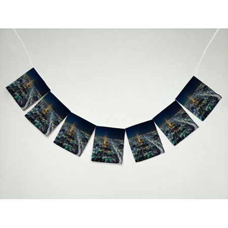 GCKG City Tokyo Skyline at Night Banner Bunting Garland Flag Sign for Home Family Party Decoration