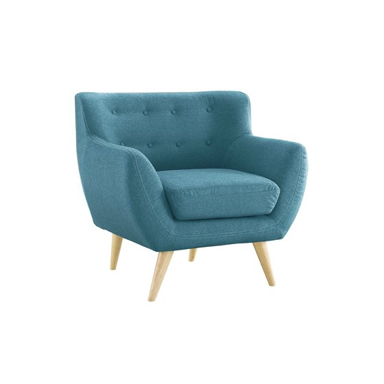 Mid Century Modern Tufted Button Living Room Accent Chair Blue