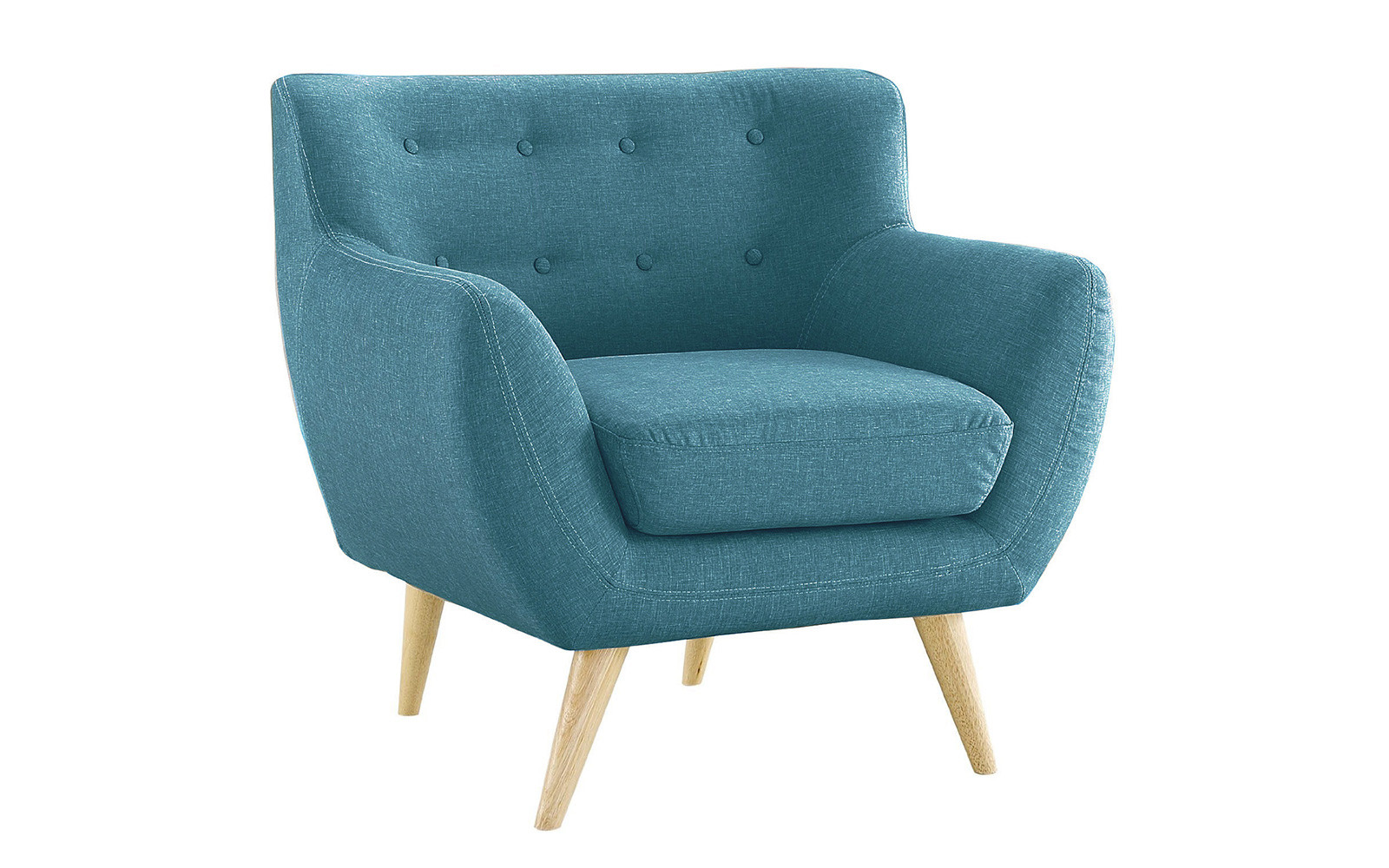 Superb Mid Century Modern Tufted Linen Fabric Accent Chair