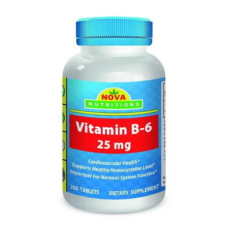 Nova Nutritions Vitamin B6 Pyridoxine 25 Mg 250 Tablets  Vitamin B 6 For Cardiovasular And Nervous System Health