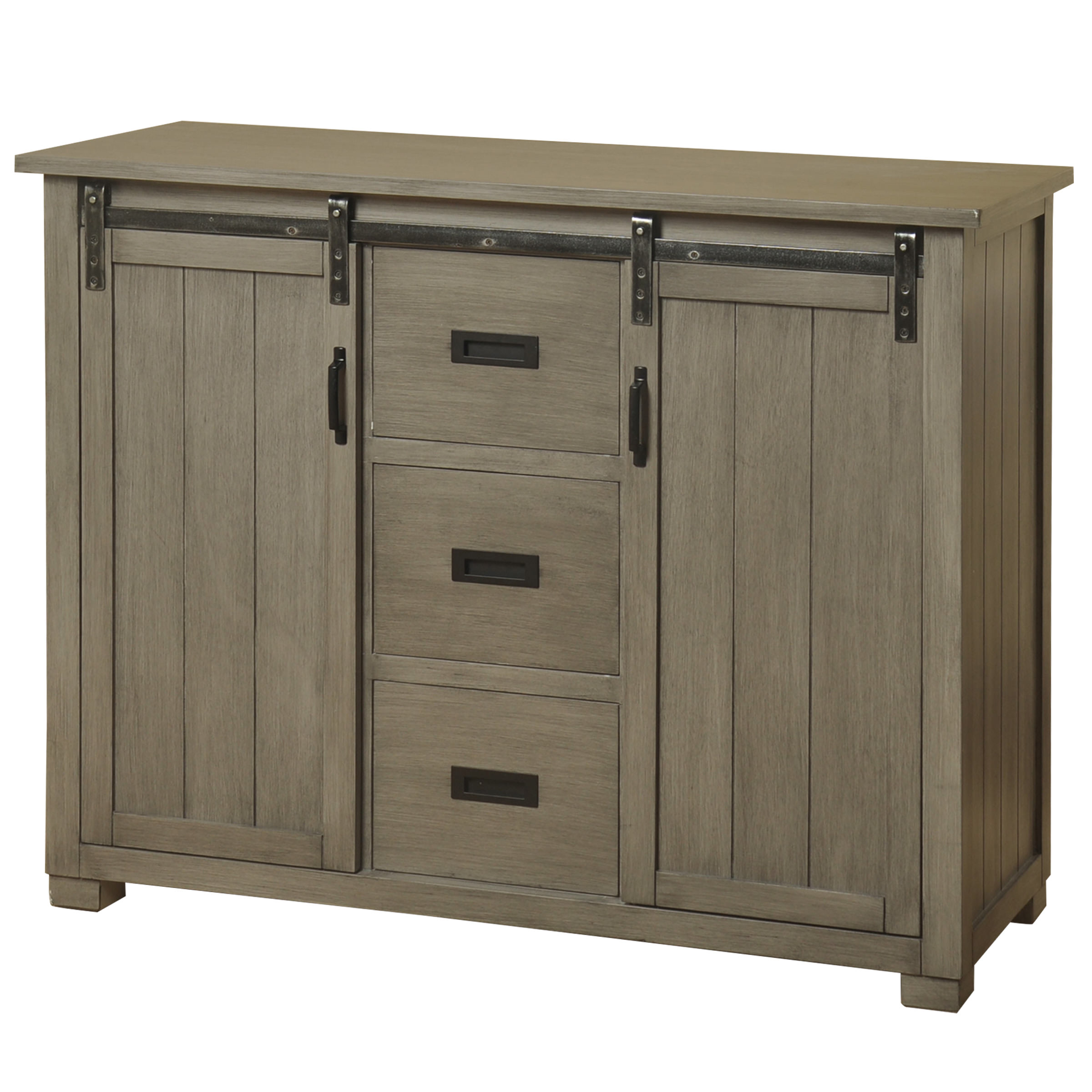 Barn Door TV Cabinet with Two Sliding Doors and Three Center Line Drawers - Slate Gray Finish