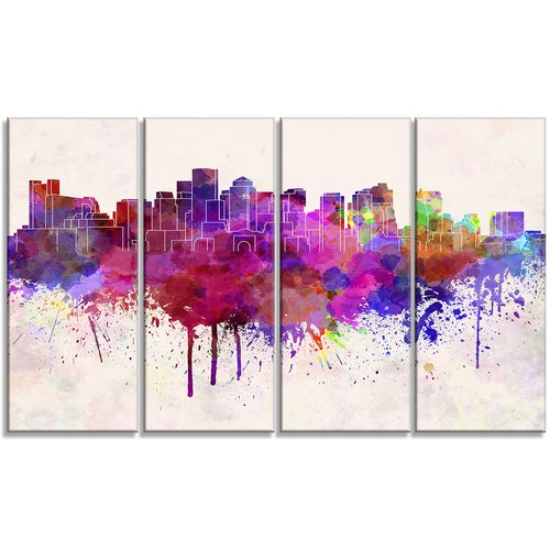 Design Art Boston Skyline Cityscape 4 Piece Painting Print on Wrapped Canvas Set