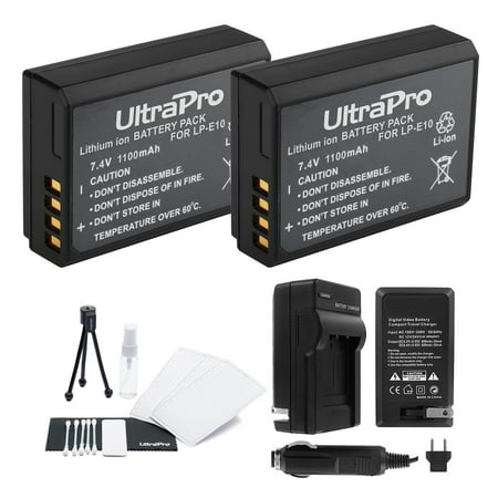 LP-E10 Battery 2-Pack Bundle with Rapid Travel Charger and UltraPro Accessory Kit for Select Canon Cameras Including EOS Digital Rebel T3, T5, T6, 1100D, 1200D, 1300D, Kiss X50, and