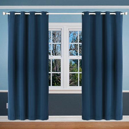 Solid Blackout Curtains for Bedroom Living Room Thermal Insulated Grommet  Top Curtain Panel Draperies Window Treatments Navy Blue Size:52\