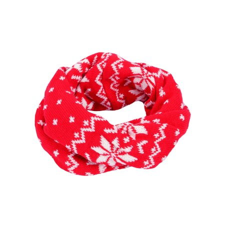 Girl's Fashion Infinity Scarf with Decorative Snowflake Designs, Knitted, Red