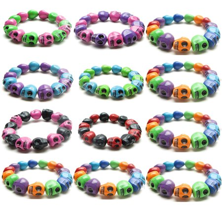 Frogsac Set of 12 Halloween Colored Skull Beads Adjustable Bracelets Great for Party Favors