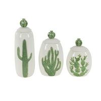 Decmode Set of 3 coastal 10, 12, and 14 inch glazed ceramic cactus jars, White