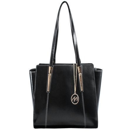 McKlein ALDORA, Ladies' Tote with Tablet Pocket, Top Grain Cowhide Leather, Black (97505) - Leather Pocket Tote