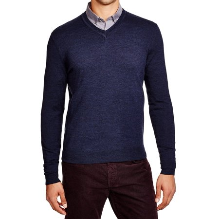 NEW Blue Mens Size XL V-Neck Wool Pull-Over - Mens V-neck Wool Sweater