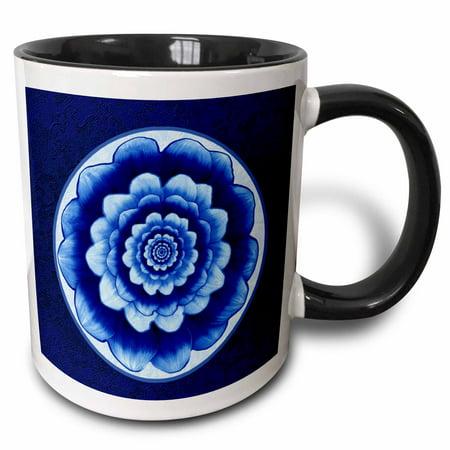 3dRose Pastel blue and cobalt fantasy mandala flower on royal blue background - Two Tone Black Mug, 11-ounce](Royal Blue And Black)