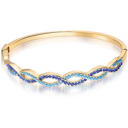 18kt Gold Plated Brass & Genuine Turquoise & CZ Braided Bangle