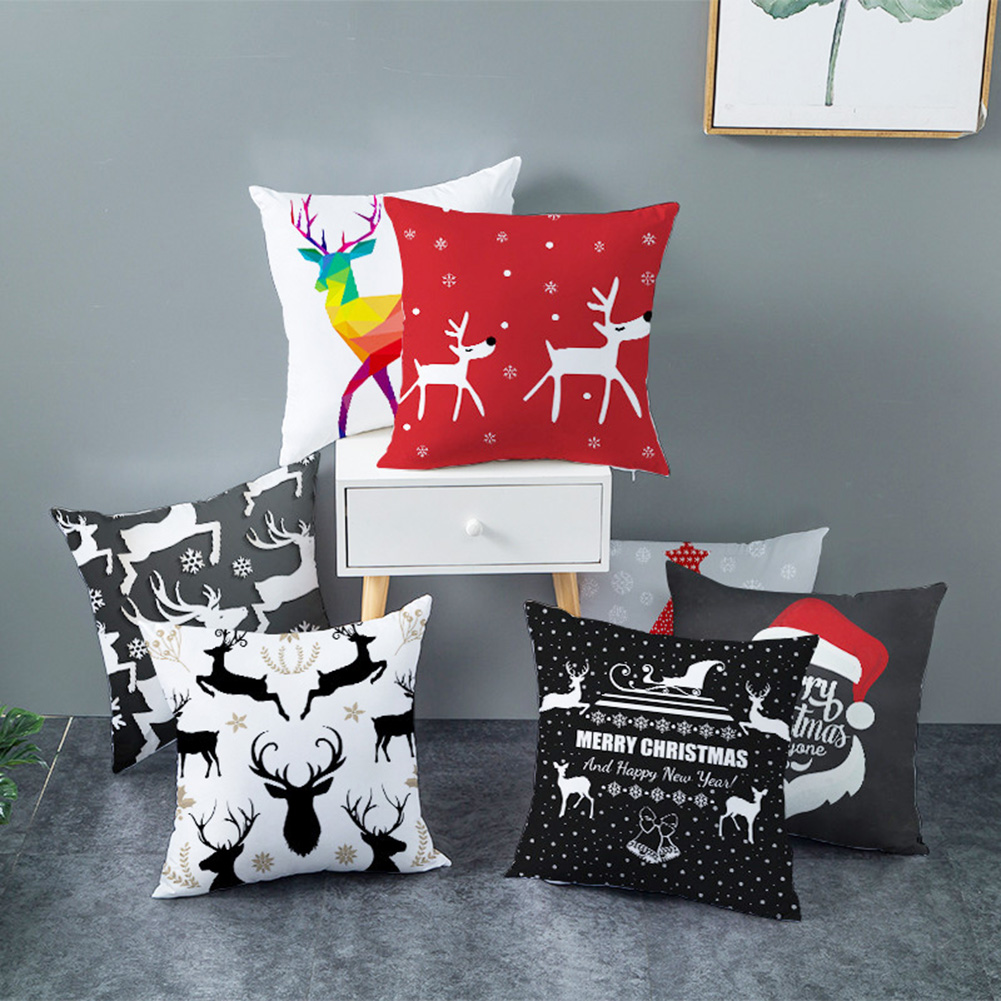 Pillow Cover Cushion Home Decor Dog Case Christmas Pillowcase Throw Sofa JJ