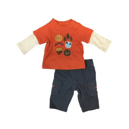 ad2a43a88fcb5 Infant Boys Brave Little Guy Baby Outfit Orange Moose Shirt & Gray Pants  Set - Walmart.com