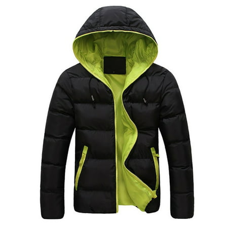 OUMY Mens Winter Warm Cotton Down Jacket Ski Snow Thick Hooded Puffer Coat (Brushed Cotton Traditional Jacket)
