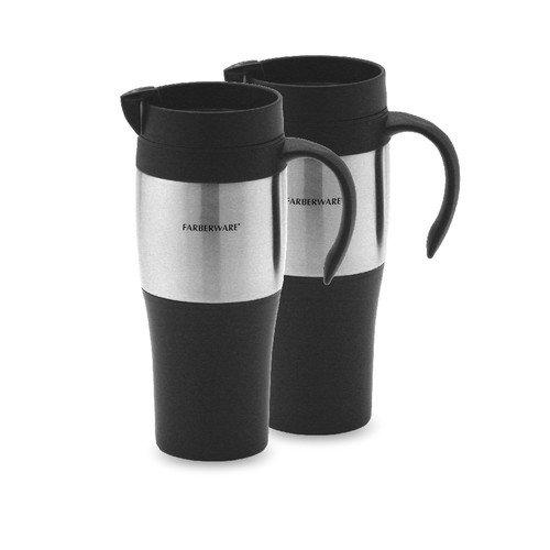 Farberware Plastic Travel Mug in Stainless Steel (Set of 2)