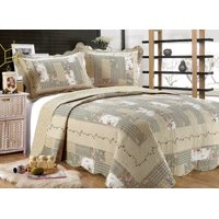"""All for You 3pc Reversible Quilt Set, Bedspread, or Coverlet with Patchwork Prints (Larger King 100""""x 110"""" with King Size Pillow shams)"""