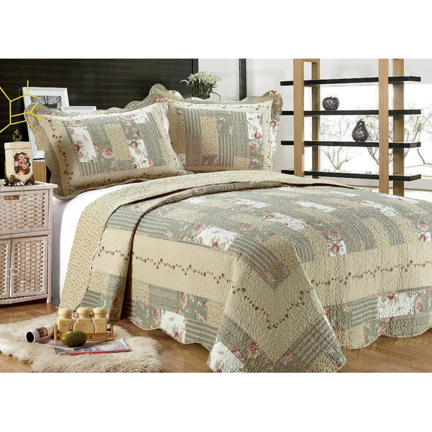 All For You 3pc Reversible Quilt Set Bedspread Or Coverlet With Patchwork Prints Larger King 100 X 110 With King Size Pillow Shams Walmart Com Walmart Com