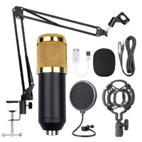 Condenser Microphone Kit Microphone With Stand Shock Mount Foam Cap Sound Card
